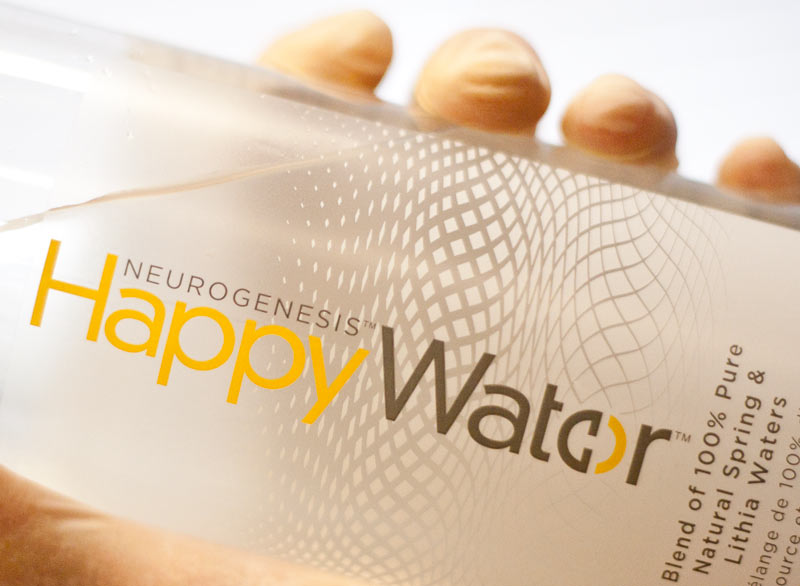 Figure 1: An actual bottle of Neurogenesis Happy Water that was used in the study (refilled with tap water for illustrative purposes).